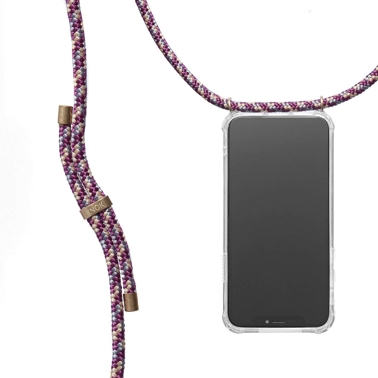 Hecho a Mano en Berlin con Cordon para Llevar en el Cuello Funda para iPhone//Samsung//Huawei con Correa Colgante KNOK case KNOK Carcasa de movil con Cuerda para Colgar iPhone X
