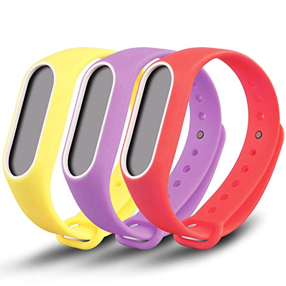 Awinner Colorful Waterproof Replacement Bands for Xiaomi Mi Band 2 Smart  Miband 2nd (No Activity Tracker) (Yellow,Red,Purple