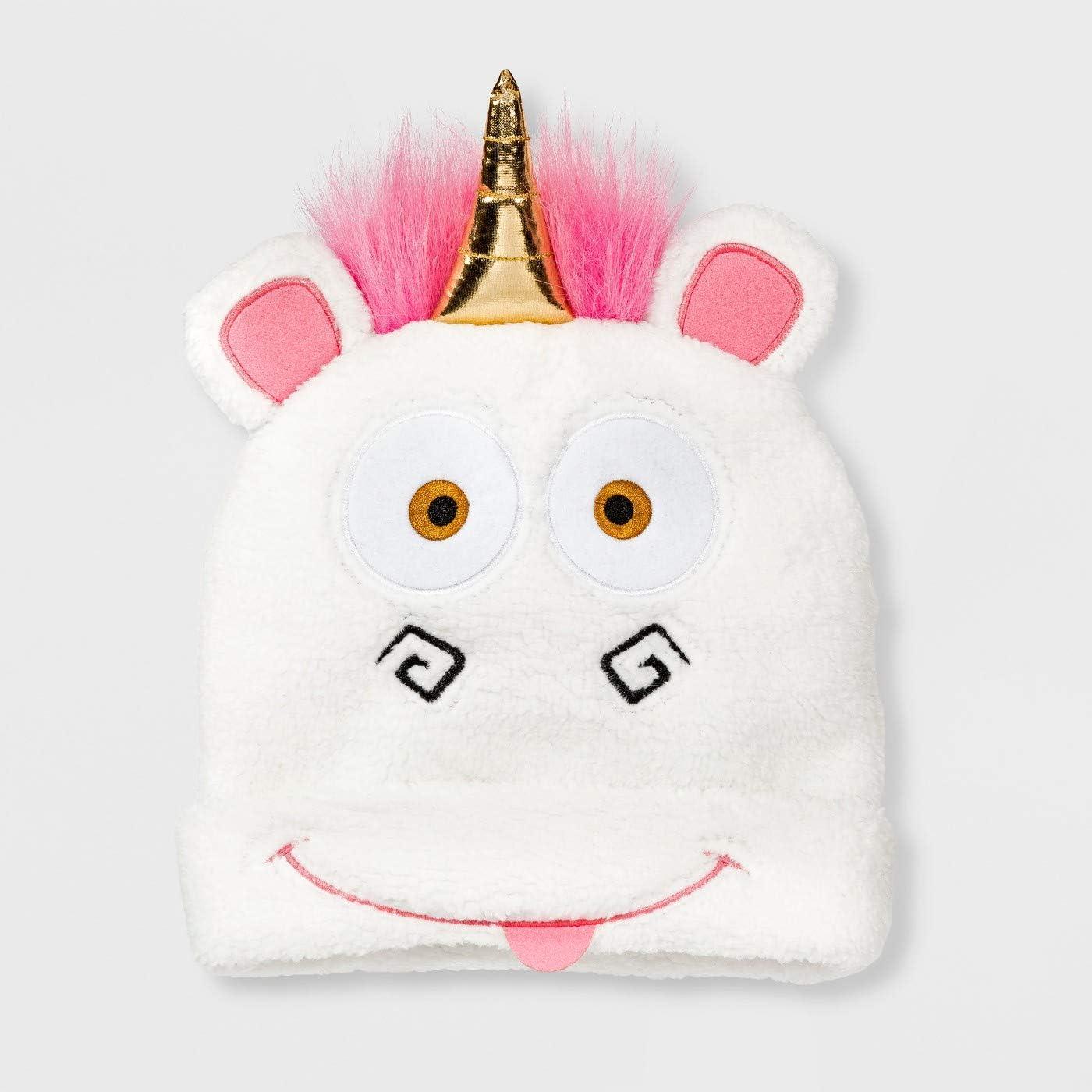Fluffy Unicorn 3D Cuffed Beanie White One Size