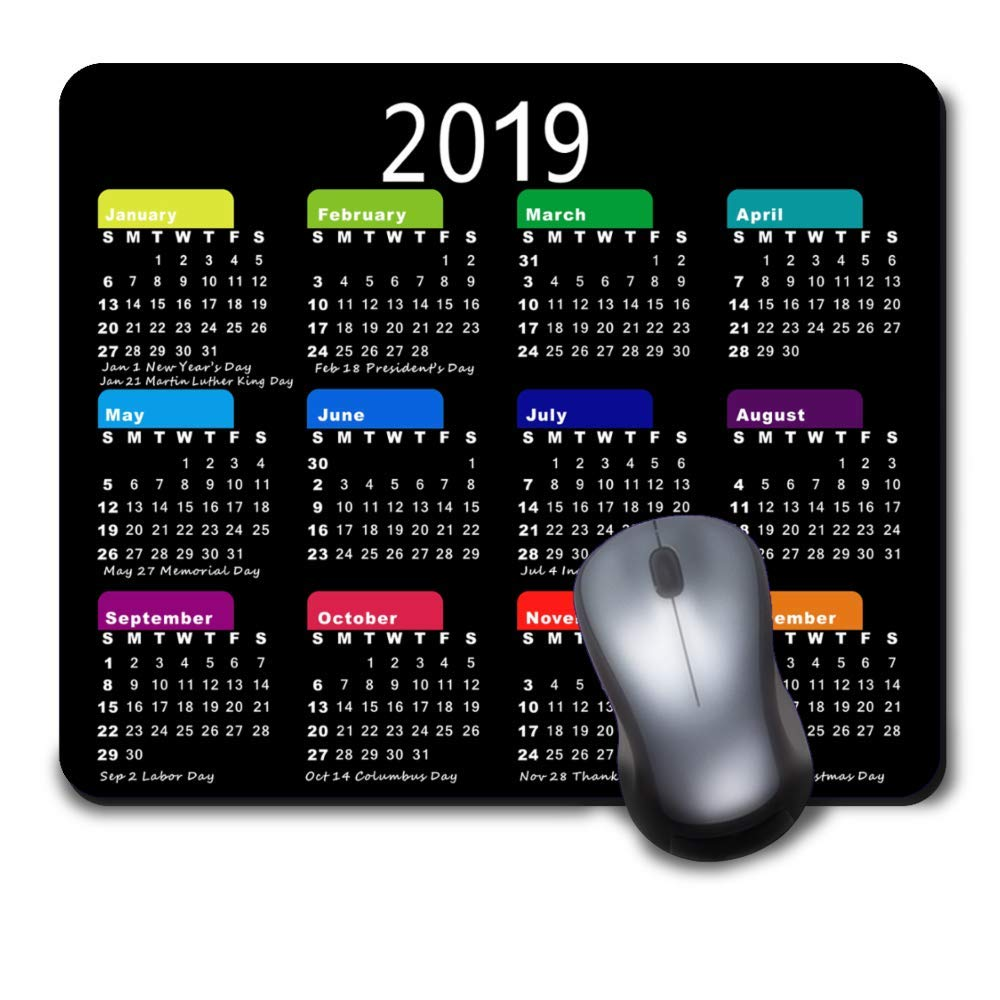 Gaming Mouse Pad Custom Mousepad Design, Comfortable Rubber Base Non-Slip for Computers Laptop Personalized Rectangle Mouse Mat 2019 Calendar-Black Nongli enda-056