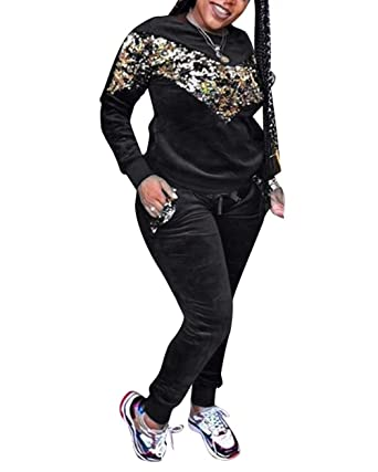 Women s Velour Sequins Sweatsuit Top and Pants 2 Piece Outfits Tracksuit  Black S ae44a0465c00