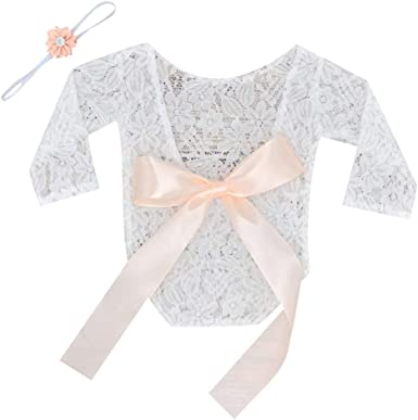 Newborn Baby Infant Lace Romper Ribbon Bow Bodysuit Outfits Photo Shoot Props