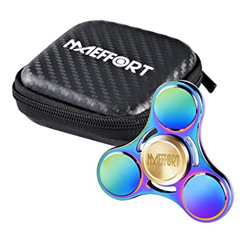 Maeffort Hand Spinner Tri Fidget Rainbow Colorful Stress Reducer Toy High Speed Low