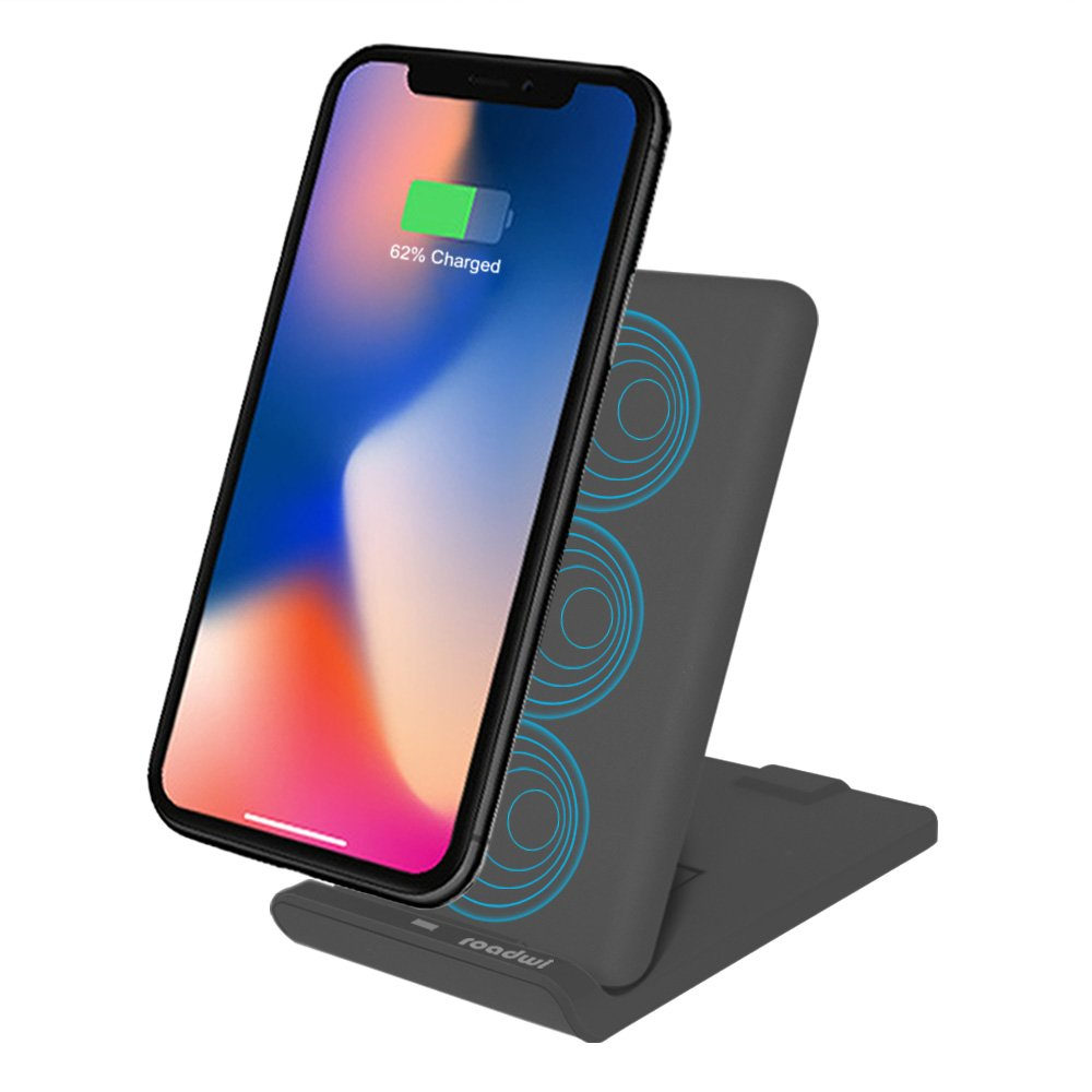 [3rd Update] Roadwi Wireless Ladegerät Faltbar für iPhone X iPhone 8 8 plus, 3-Spulen Wireless Schnellladepad QC 2.0 / 3.0 Technologie für Samsung Galaxy Hinweis 8 S8 Plus S8+ S7 S7 Edge Note 5