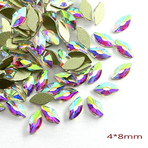 Nail Art Supplies - 20Pcs/Pack Nail Rhinestones Personalised Flat Shapes Glass AB Colorful Stones For 3D Nails Decoration - Rhinestones For Nails - S 4x8cm