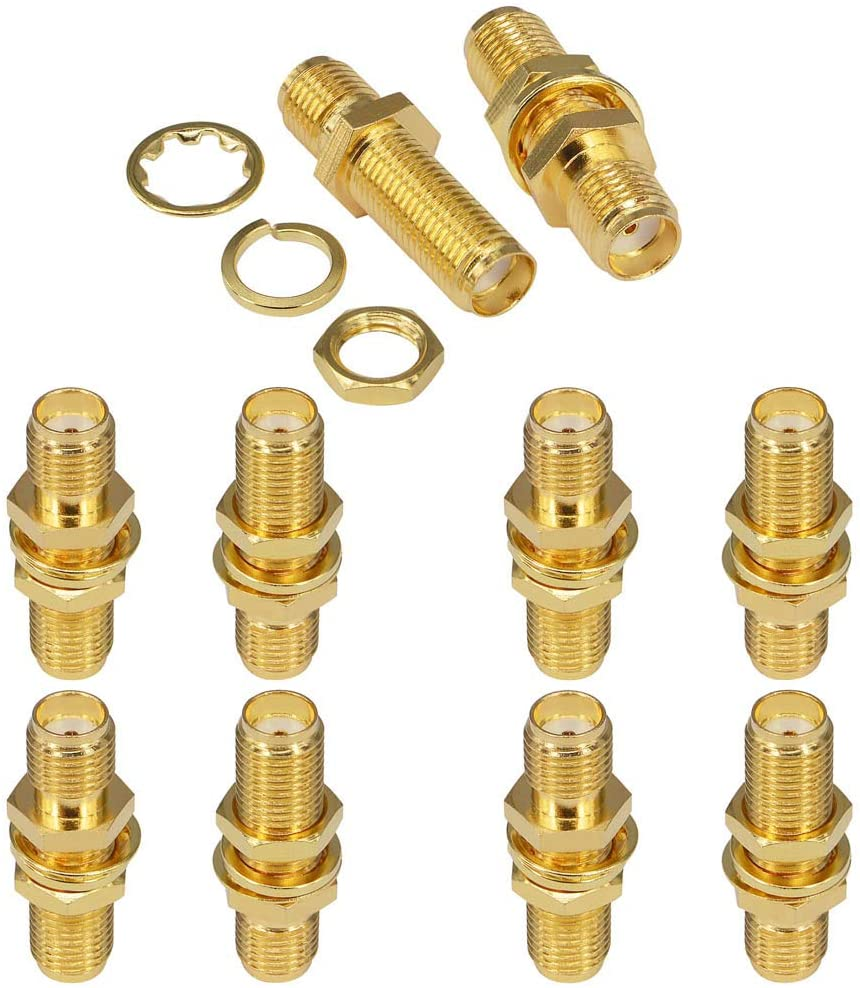 BOOBRIE SMA Socket Connector SMA Female Bulkhead Connector SMA Panel Chassis Mount Connector SMA Female to Female Barrel Adapter Antenna Jack Adapter for Wireless LAN Device Coax Cable,etc Pack of 10