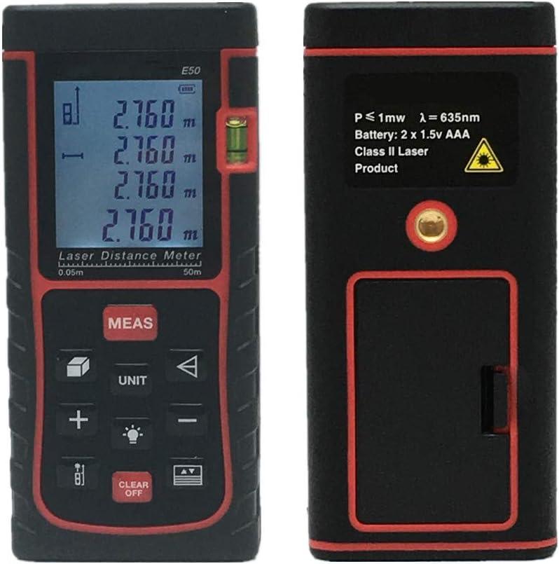ZIHENGUO Medidor de Distancia láser Digital, Cinta métrica de Alta precisión, a Prueba de Agua, con Pantalla LCD, para Modos de Distancia, Superficie y Volumen, pitagoras