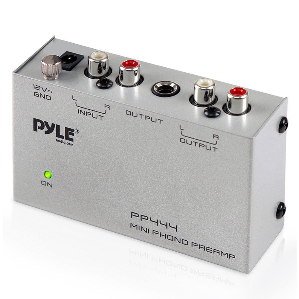 Pyle Phono Turntable Preamp - Mini Electronic Audio Stereo Phonograph Preamplifier with RCA Input, RCA Output & Low Noise Operation Powered by 12 Volt DC Adapter (PP444) by Pyle