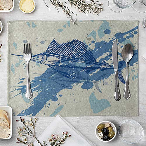 memorytime Fish Rudder Compass Heat Insulated Pad Kitchen Dining Table Mat Placemat Decor Kitchen Dining Supplies - 4# by memorytime (Image #4)