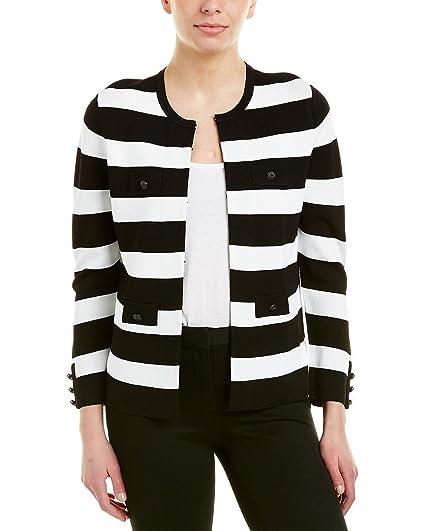 b872415e9d0 Anne Klein Women s Stripe Jacket Cardigan Black White X-Small at Amazon  Women s Clothing store