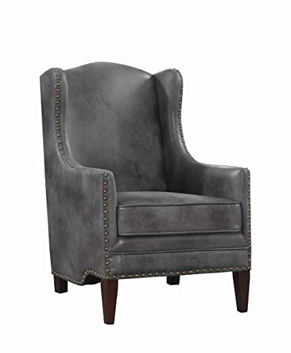 Peachy Amazon Com Coaster Wingback Accent Chair In Gray And Dailytribune Chair Design For Home Dailytribuneorg