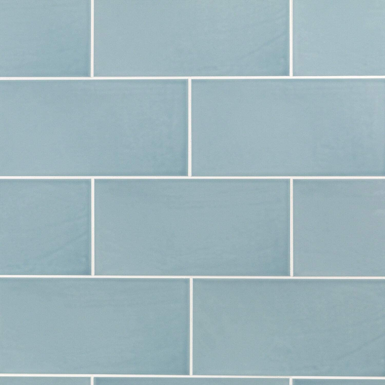 Barbados Light Blue 5 x 10 Polished Ceramic Subway Wall Tile 1 Box Covers 9.9 sq. ft.