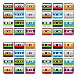 Ambesonne 90s Coaster Set Four, Collection Retro Plastic Audio Cassettes Tapes Old Technology Entertainment Theme, Square Hardboard Gloss Coasters Drinks, Green Blue