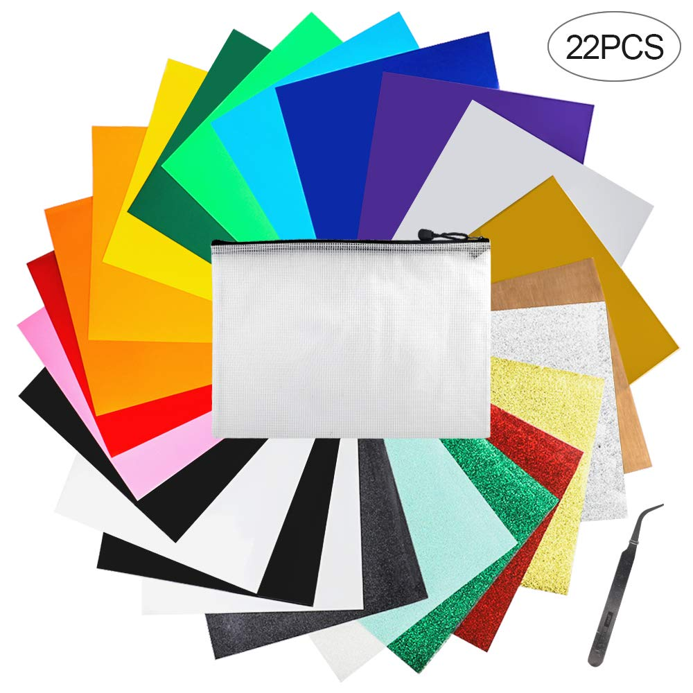 Iron on Vinyl Heat Transfer Vinyl 22 Pack includes 16 Pack Assorted Colors Sheets and 6 Pack Glitter Sheets for T-Shirts Works with Cricut, Silhouette Cameo(10in x 12in) by SGHUO