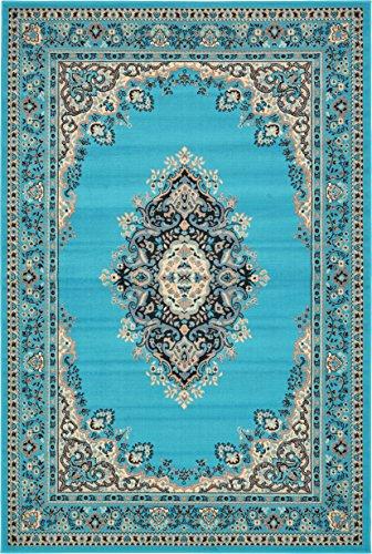 Unique Loom Mashad Area Rug, 6′ 0″ x 9′ 0″, Turquoise