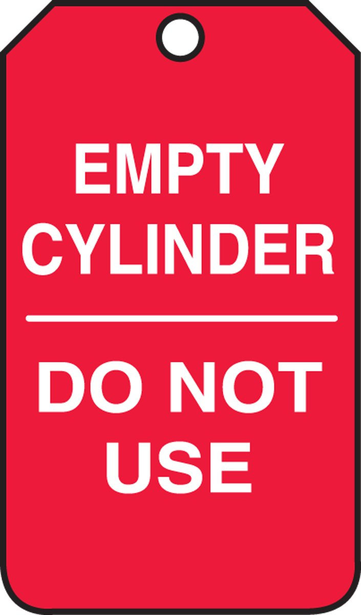 Accuform MGT202PTP Cylinder Status Tag, Legend''EMPTY CYLINDER - DO NOT USE'', 5.75'' Length x 3.25'' Width x 0.015'' Thickness, RP-Plastic, White on Red (Pack of 25)