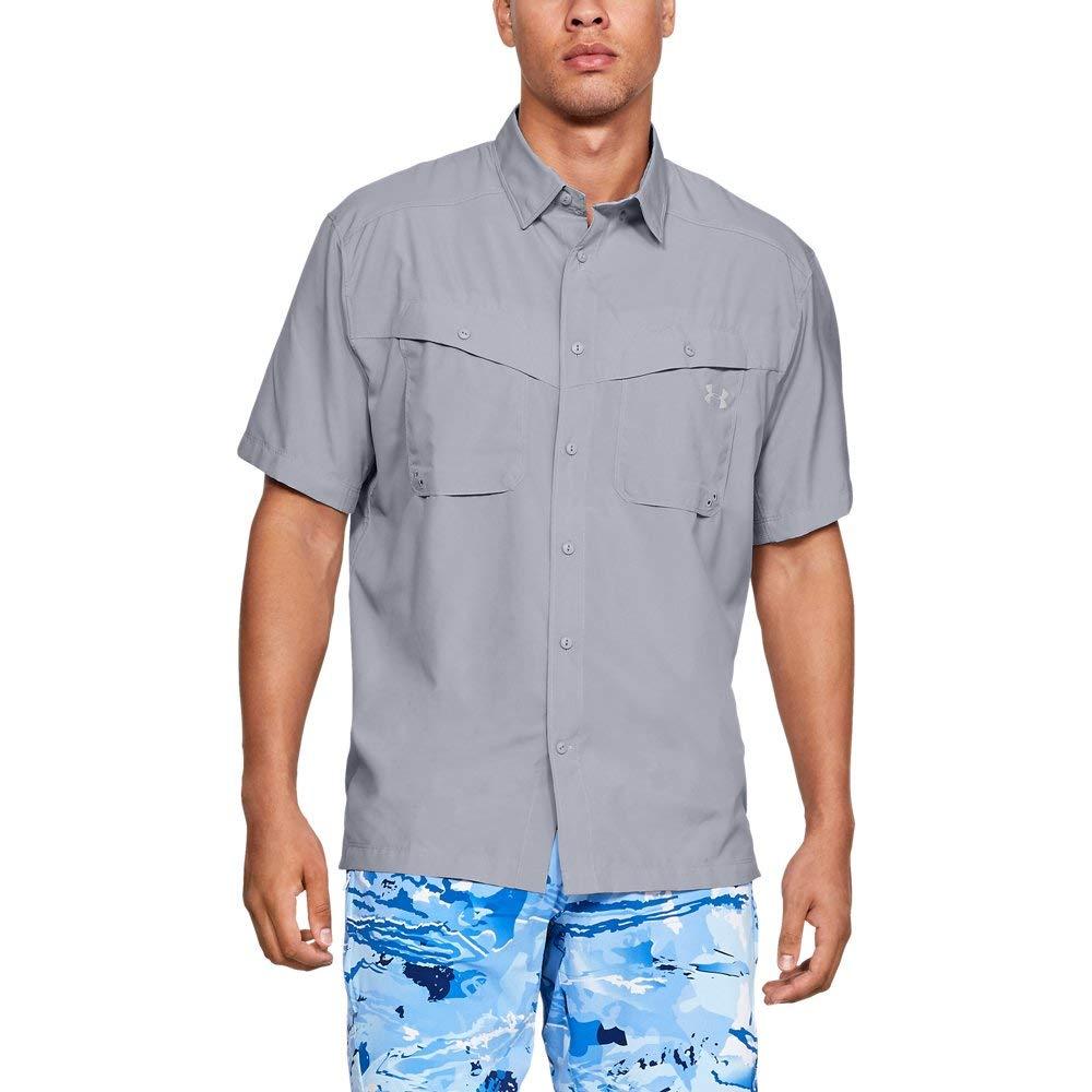 Under Armour Men's Tide Chaser Short Sleeve Shirt, Mod Gray (011)/Elemental, Large, Mod Gray (011)/Elemental, Large