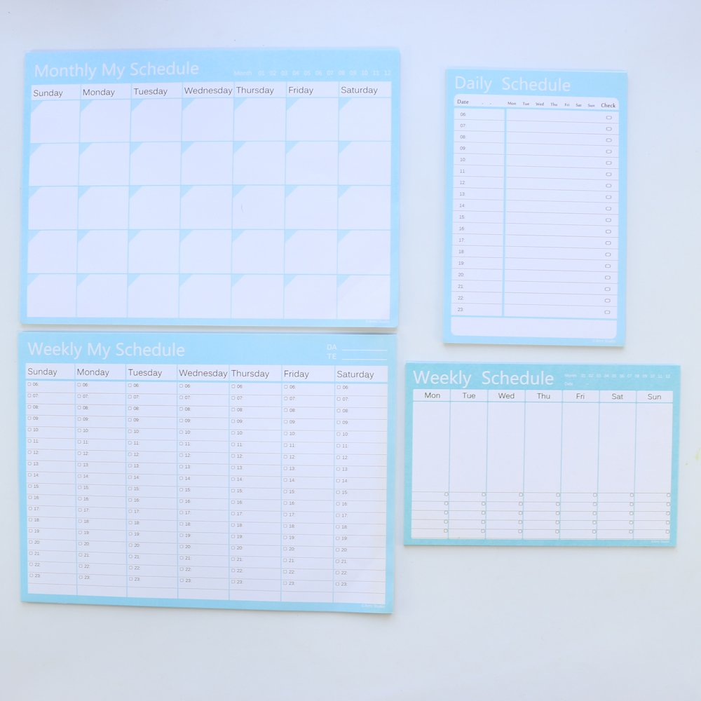 Domikee classic school daily list weekly schedule monthly schedule -desk planner pad,green-4 sets,blue- 3 sets,A5 A4 size,can tear