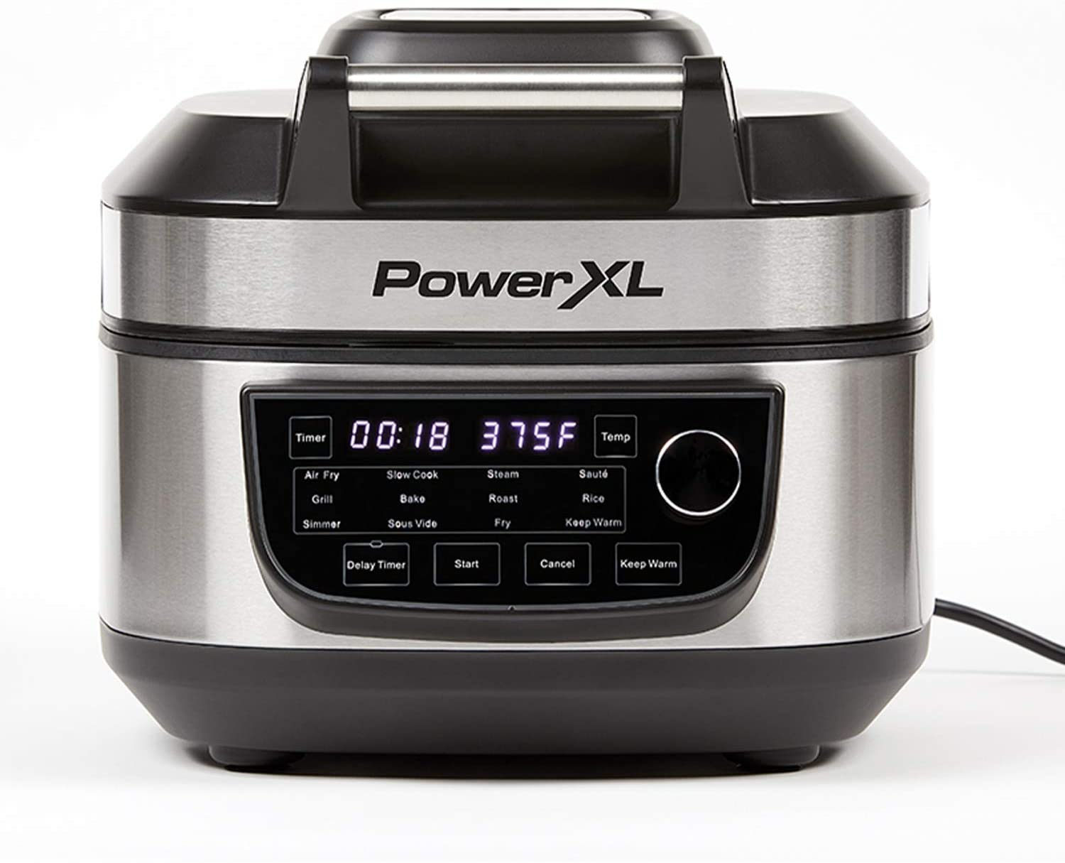 PowerXL Grill Air Fryer Combo 12-in-1 Indoor Grill, Air Fryer, Slow Cooker, Roast, Bake, 1550-Watts, Stainless Steel Finish