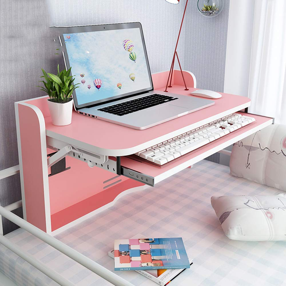 PINK YNN Multifunction Writing Desk Fold Wall-Mounted Drop-Leaf Table Small Table Bunk Beds Dormitory Artifact Lazy Desk (color   Teak color)