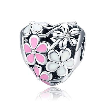 Dxlts Mujer DIY Joyería Forma de Corazon Charm Bead Plata de ...