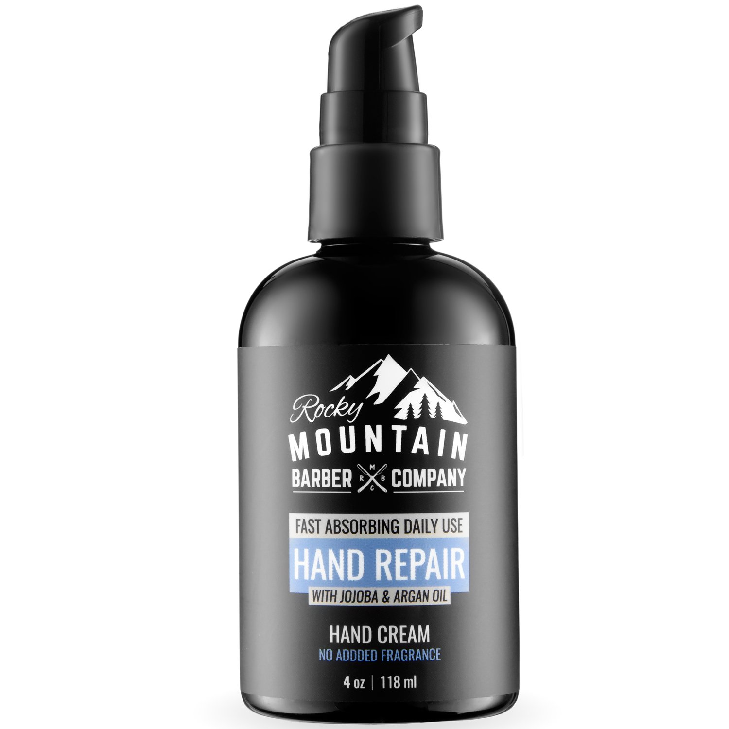 Hand Moisturizer - Hydrates, Protects & Heals Dry, Cracked Hands - Contains Natural Ingredients Like Argan Oil & Jojoba Oil - No Added Fragrance - 4 oz by Rocky Mountain Barber Company