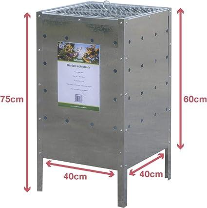 Woodside – Incinerador de basura galvanizado para jardines, cuadrado, 120 l: Amazon.es: Jardín