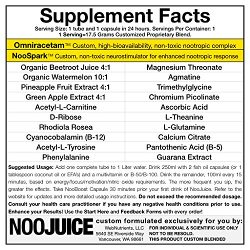 NooJuice NOX+ The Organic Limitless NZT-48 Nitric Oxide Enhancer For Athletic Endurance, Pump and Performance. 5 Drinks+5 Capsules. Powerful Nootropic Boost+Focus. Sports Performance Enhancers