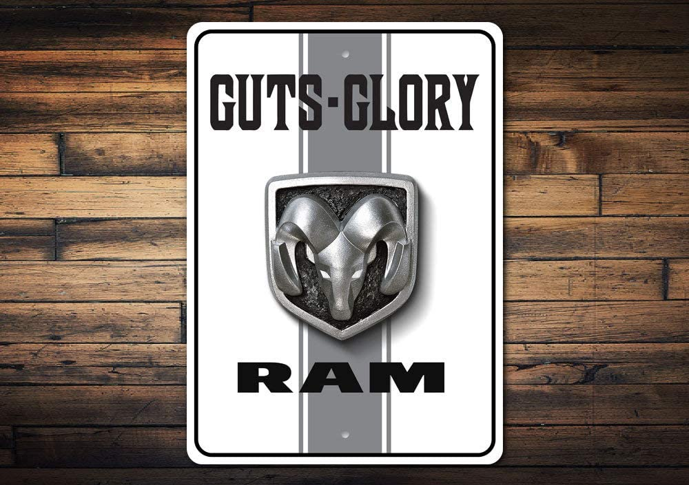 Tin Signs Guts Glory Ram Dodge Ram Ram Trucks Garage Parking Decor Muscle Lovers Classic Rides Car squality Aluminum Vintage Style Metal Poster Plaques for Funny Wall Decoration Art Sign Gifts - 8x12