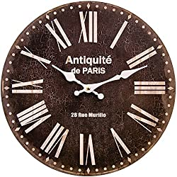 Round Black Decorative Clock With White Roman Numerals 13 x 13 inches Quartz movement