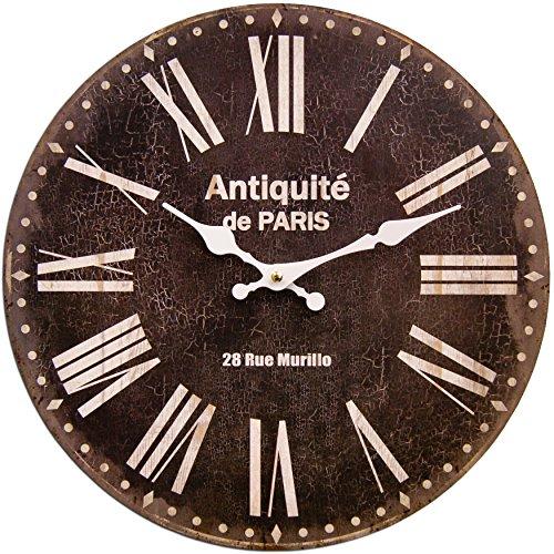 Date In Roman Numerals - Round Black Decorative Clock With White Roman Numerals 13 x 13 inches Quartz movement