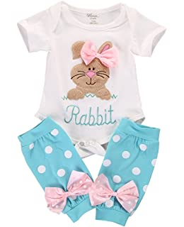 44c70c211b0 2Pcs Set Newborn Infant Baby Girl Easter Outfit Bunny Romper+ Polka Dot Leg  Warmers