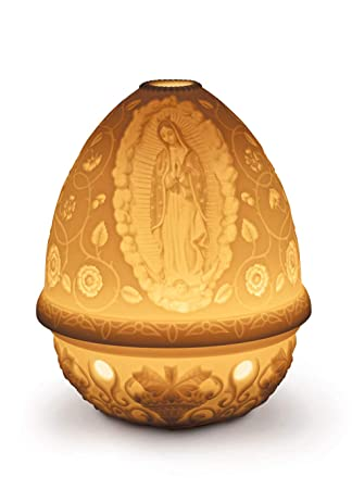 Lladro Our Lady of Guadalupe Lithophane Votive Light