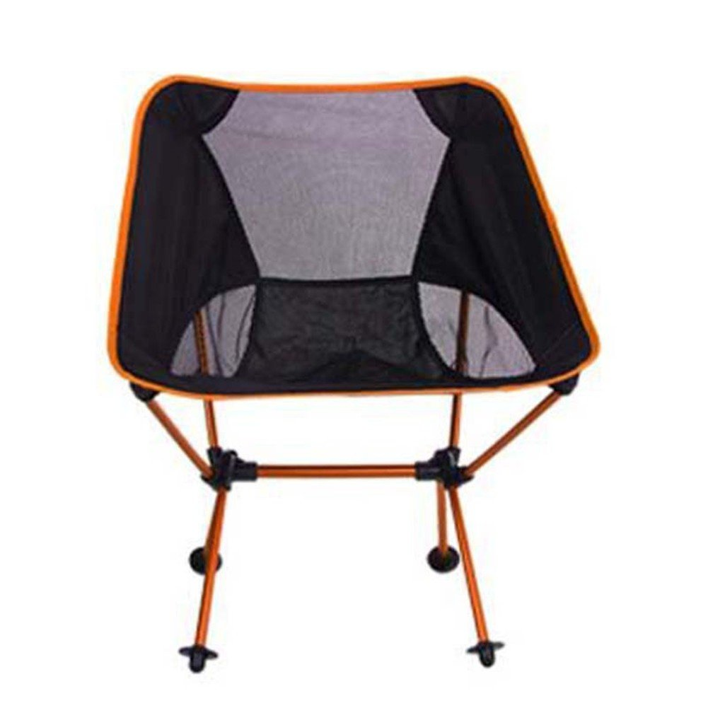 L&J Camping Folding Chairs, Outdoor Portable Leisure Chair, Aluminum Alloy Fishing Chair Lightweight Moon Chair, Picnic Barbecue, Load 150kg-orange