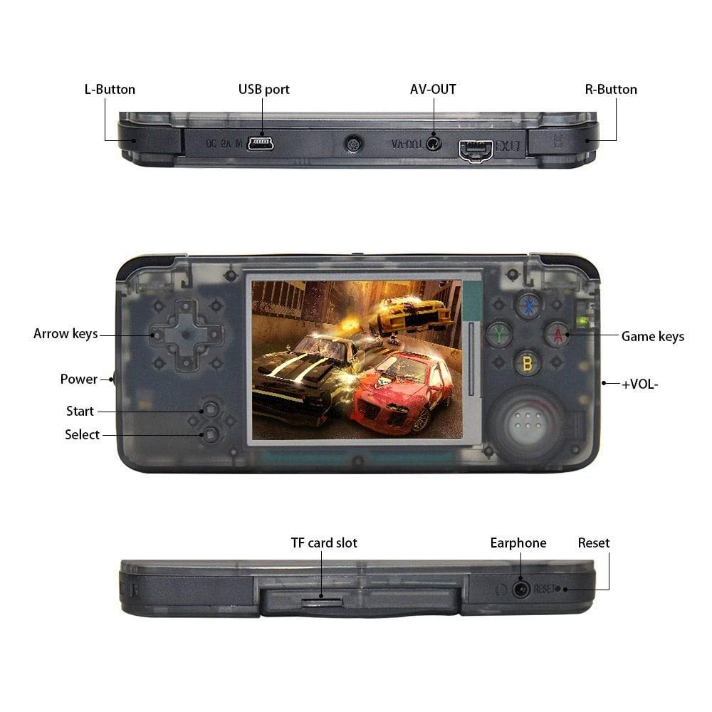 FLYFISH Handheld Game Console , Retro Game Console 16GB 3000 Classic Game Console , 3 Inch HD Screen TV Output Portable Video Game Console , Birthday Gift for Children - Transparent Black by FLYFISH (Image #8)