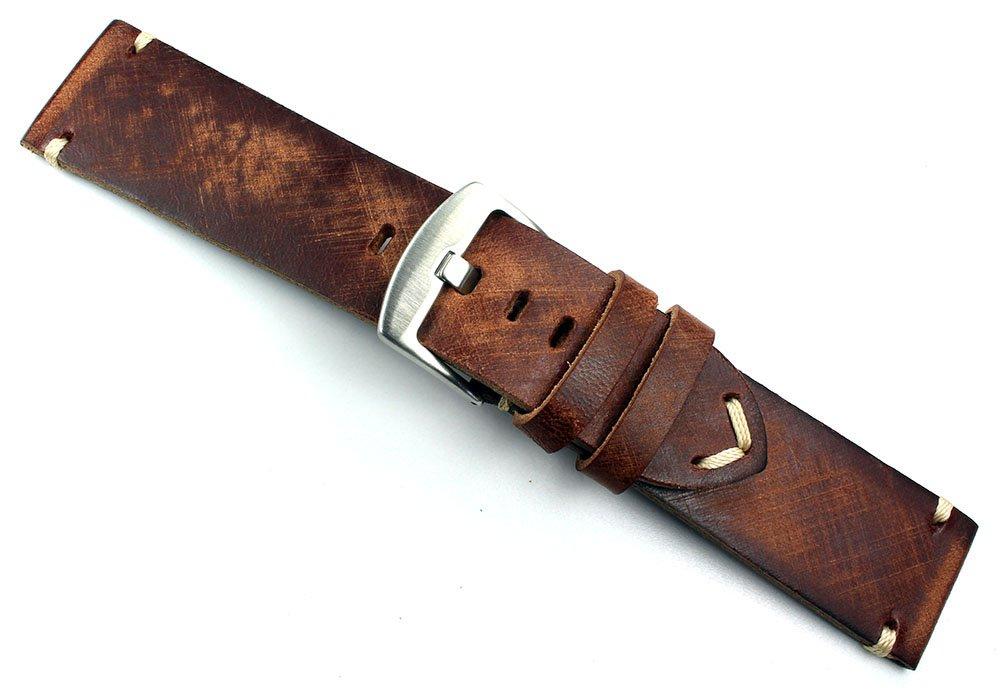 Vintage klockarmband av sadelläder Shabby shick unik handborstad och handgjord i Tyskland svart 24mm Rot-braun