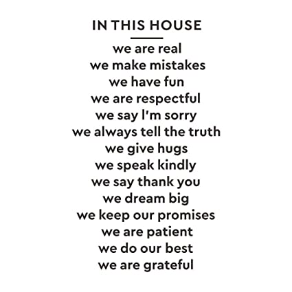 Decalmile In This House We Are Real Quotes And Sayings Wall Stickers