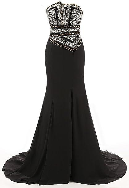 Vestido strapless negro largo accesorios