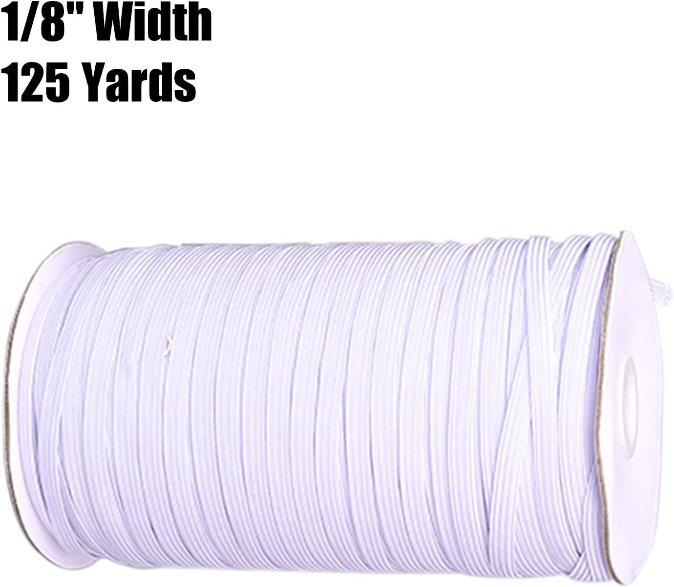 Landrol 1//8 Inch Width 125 Yards Length White Heavy Stretch Elasticity Braided Knit Flat Elastic Band Strap Cord Roll Rope Spool Bungee for Sewing Crafting Crafts DIY Mask Cuff