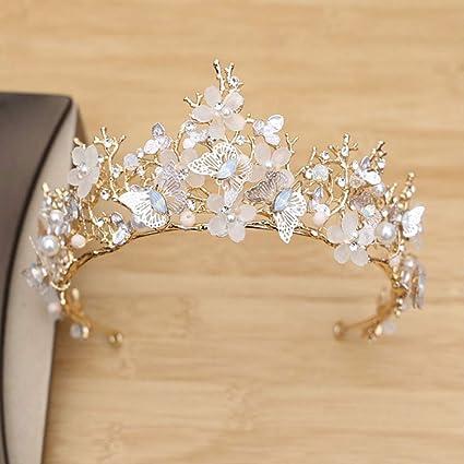 Girls Crystal Butterfly Headband Flower Tiara Crown Hair Band Headpiece Wedding
