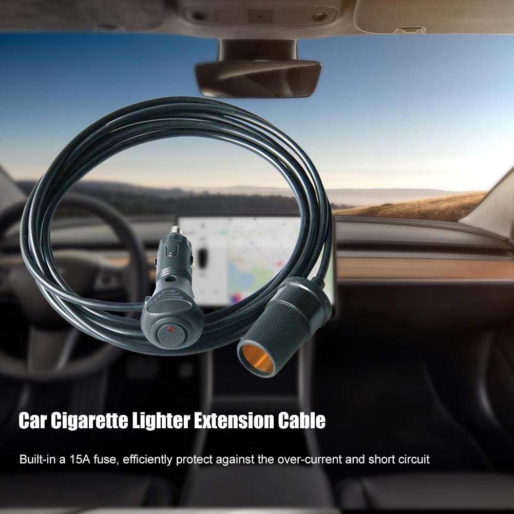 Caricatore per Auto 12V // 24V con accendisigari Presa per accendisigari Oddity Cavo di prolunga per accendisigari 12V Nero 17 Fili elettrici AWG