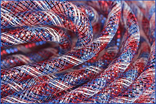 Deco Mesh Flex Tubing with Metallic Foil (Royal Blue Red White) 8mm x 30 Yards