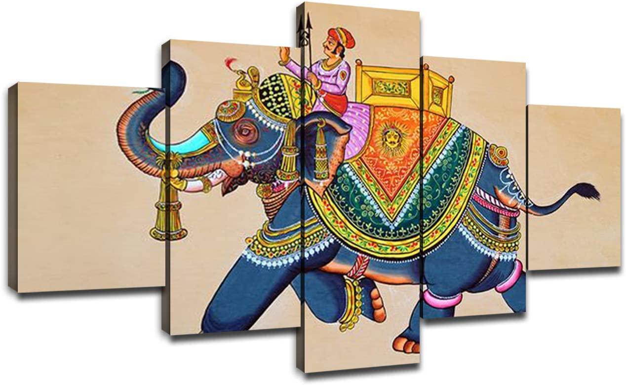 Amazon Com Canvas Wall Art Traditional Indian Elephant Painting Modern Artwork Picture For Wall Living Room Decor Rajasthani Wall Painting Elephant With Jockey Poster Prints Frame Decoration 60 Wx32 H Posters Prints