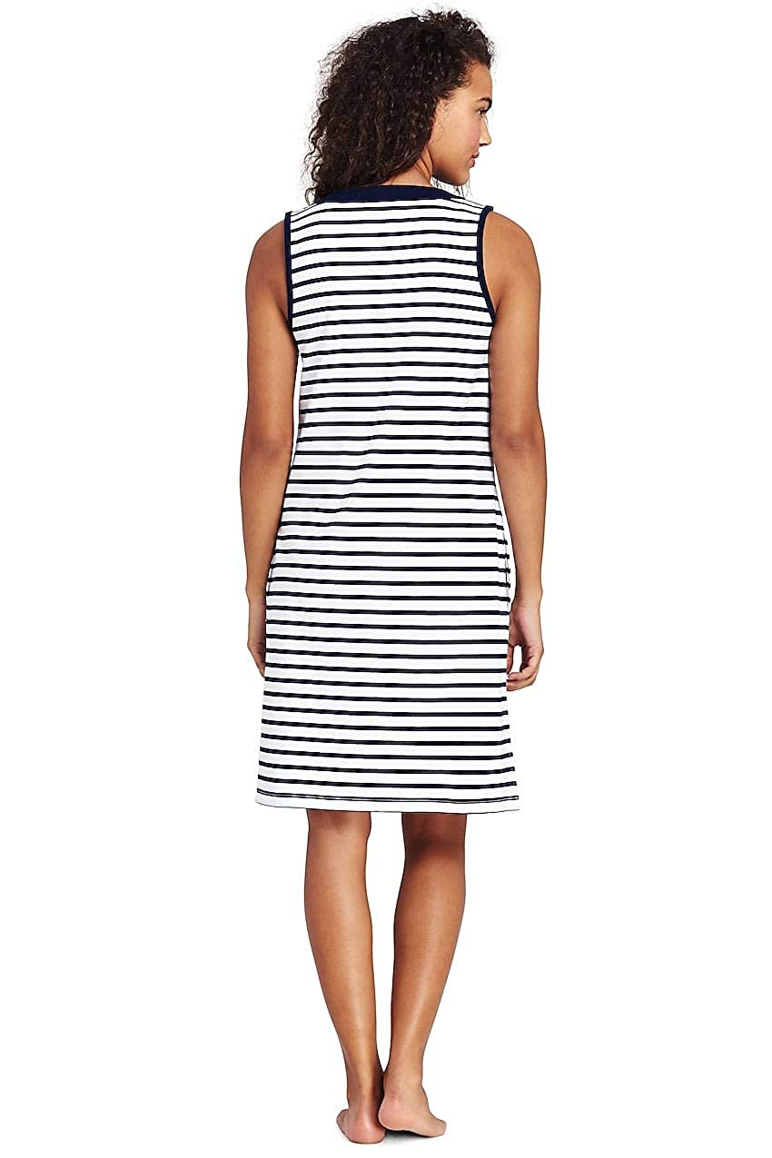 13c33b40c3 Lands' End Women's Cotton Jersey Sleeveless Tunic Dress Swim Cover-up Print  at Amazon Women's Clothing store: