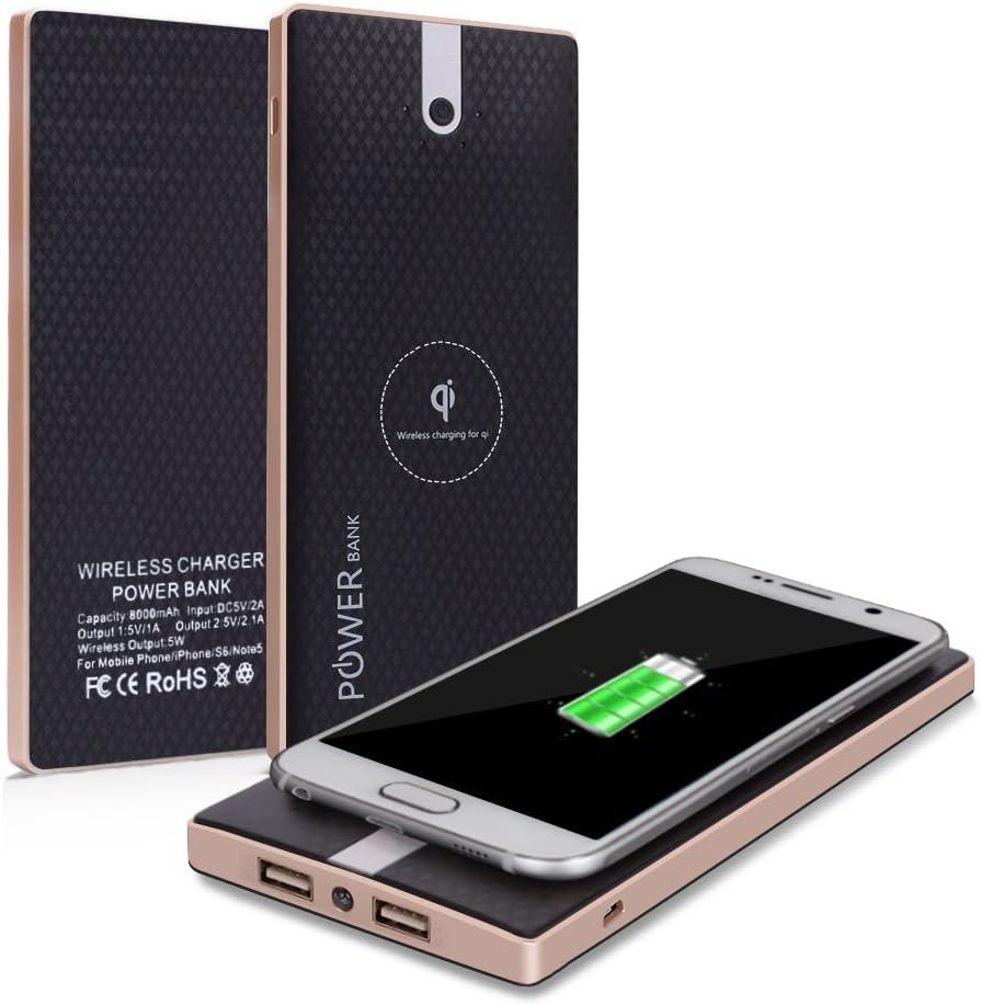 Qi Power Bank cloele teléfono celular portátil recargable Pack de batería 8000 mAh y cargador inalámbrico batería externa Pack 2 en 1 con doble puerto de carga rápida para iPhone 8, Samsung