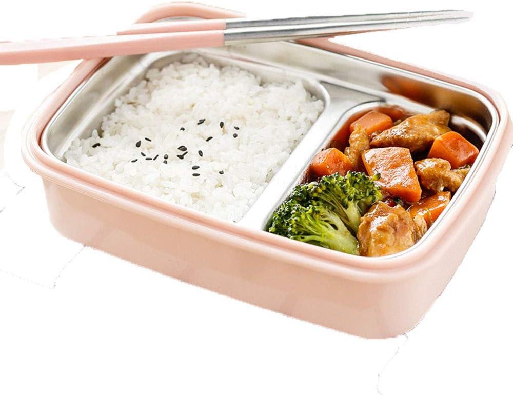 QinWenYan Box Lunch Fiambrera Simple De La Pérdida del Peso De La Cafetería del Estudiante del Cubículo del Acero Inoxidable Envase del Almuerzo Envase De Alimento (Color : Pink)
