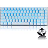 Wired Gaming Keyboard Blue LED Backlit 82 Keys USB Mechanical Pro Gamer Keypad Office Typists Playing Games (Black Switch, Wh