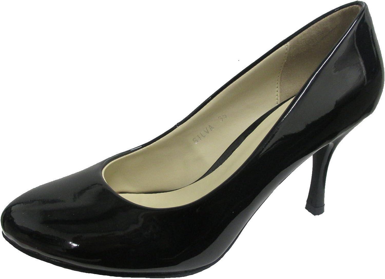 Ralph Migel Cloe Womens SILVA Black Patent Leather Pump Shoes