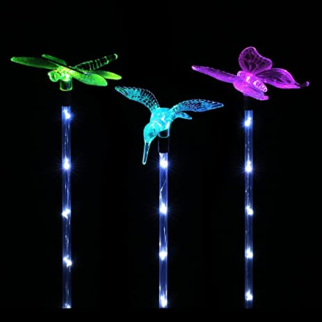 Solar Garden Lights, Hummingbird,Butterfly And Dragonfly Solar Garden Stake  Light, Solar Powered