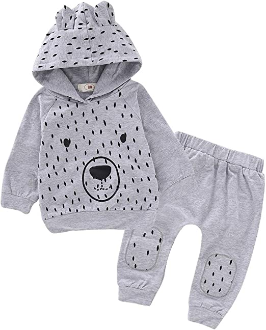 Infant Baby Boys Girls Clothes Sets Fall Winter Sweatshirt Outfits 3-24 Months ❤️ Hoodie Top Floral Print Pants